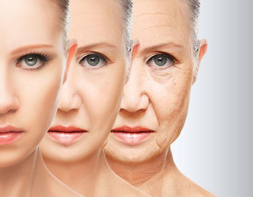 chica con diferentes etapas de rejuvencimiento facial