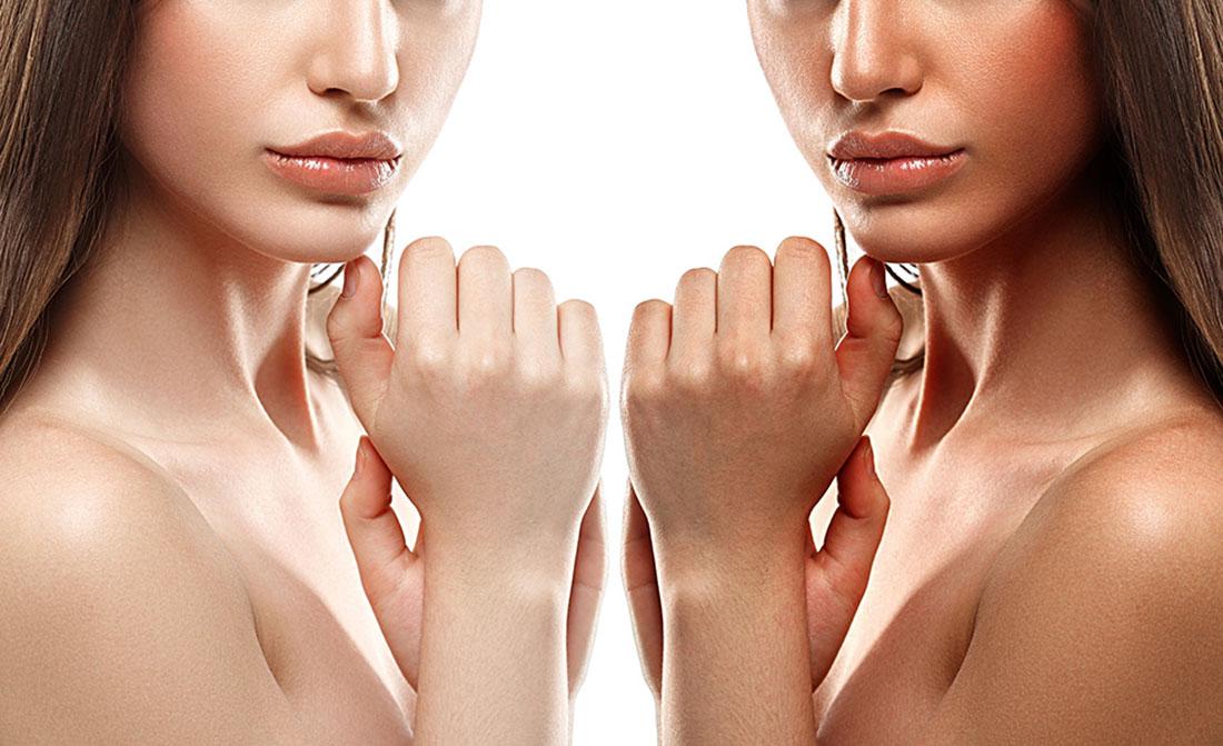 cuerpo de mujer bronceado natural y no bronceado natural